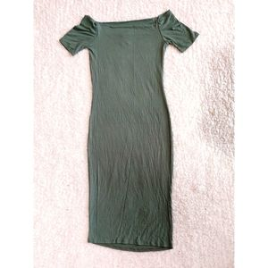 POETRY off shoulder olive green BODYCON dress